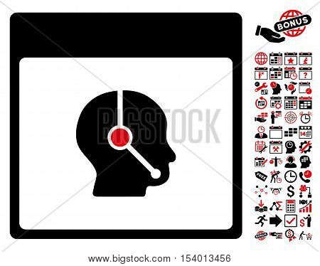 Telemarketing Operator Calendar Page pictograph with bonus calendar and time management pictograph collection. Glyph illustration style is flat iconic symbols, intensive red and black,