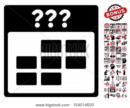 Unknown Month Calendar Grid pictograph with bonus calendar and time management pictograph collection. Glyph illustration style is flat iconic symbols, intensive red and black, white background.