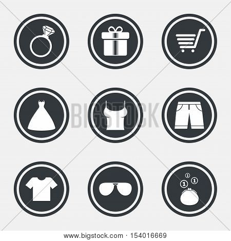 Clothes, accessories icons. T-shirt, sunglasses signs. Wedding dress and ring symbols. Circle flat buttons with icons and border. Vector