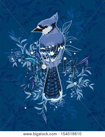 Blue Jay bird Vector Illustration, bird vector. Hand Drawn Vector Illustration of bird. A beautiful illustration of a winter bird. winter illustration.