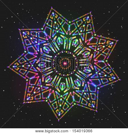 New Year Decoration Shining Colorful Star. Christmas Decorative Adornment. Circular Patterned Ornament.