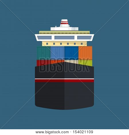 Front View of the Vessel, Cargo Container Ship ,International Freight Transportation, Vessel for the Transportation of Goods ,Vector Illustration