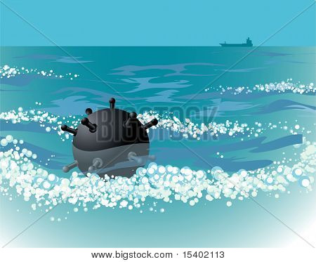 Naval mine in the sea. Vector.