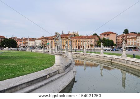 padova central square fragment of Prato della Valle in Padua Veneto Italy.View of the canal with statues
