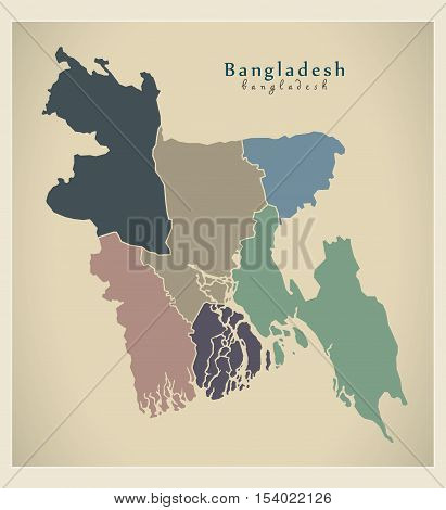 Modern Map - Bangladesh with divisions colored BD illustration vector