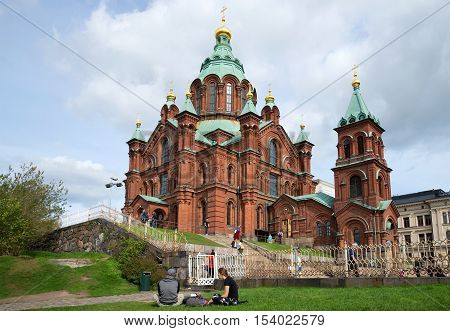 HELSINKI FINLAND - AUGUST 28 2016: An orthodox cathedral of the Dormition of the Theotokos in the august afternoon. Helsinki, Finland