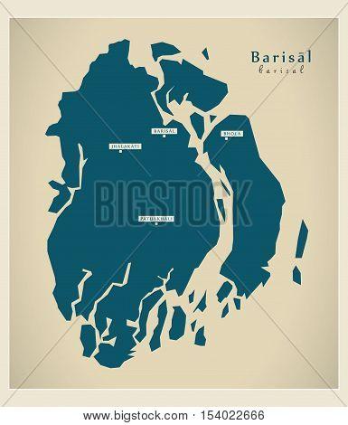 Modern Map - Barisal BD Bangladesh illustration vector
