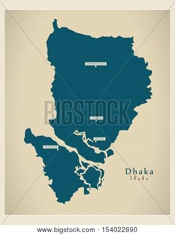 Modern Map - Dhaka BD Bangladesh illustration vector