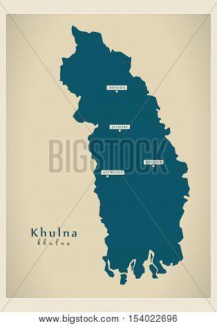 Modern Map - Khulna BD Bangladesh illustration vector