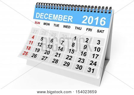 2016 year calendar. December calendar on a white background. 3d Rendering
