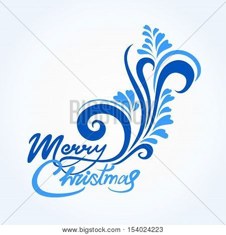 Christmas card with blue handwritten text and greetings merry Christmas with a winter pattern. Blue and serenity colors