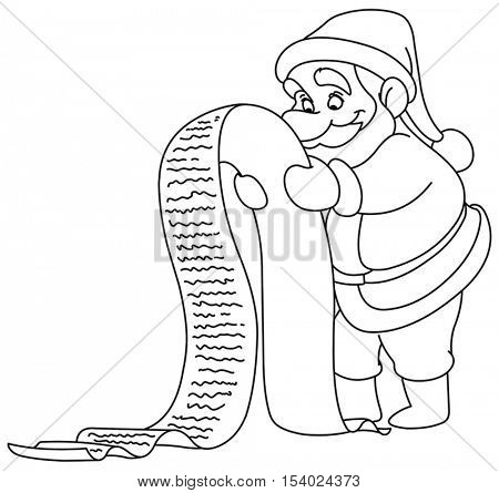 Outlined Santa Claus reading a long Christmas wish list. Vector illustration coloring page.
