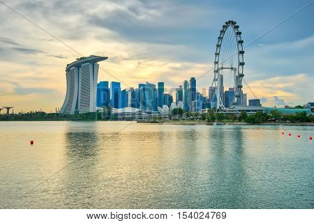 Singapore city, Singapore - October 22, 2016: Singapore city skyline and view of Marina Bay at sunset in Singapore city.