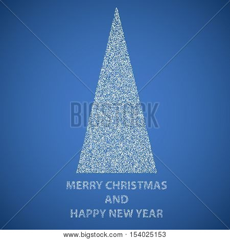 Abstract triangual Mery christmas and happy new year tree filled by white dots on blue background