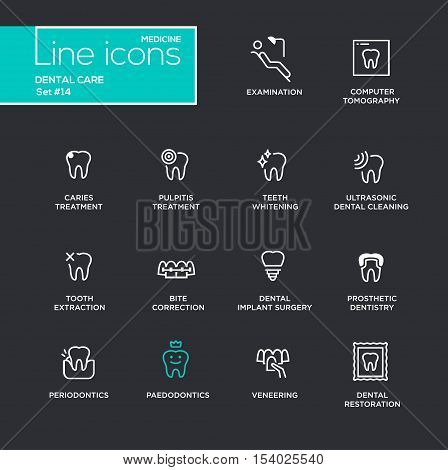 Dental Care - single line pictograms set on black background. Examination, tomography, caries, pulpitis, restoration, implant surgery, teeth whitening, extraction, prosthetic dentistry periodontics