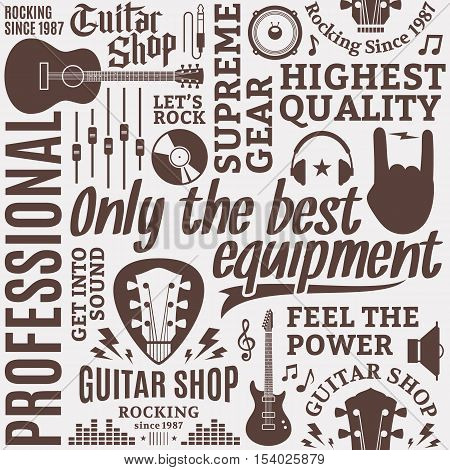 Typographic Vector Guitar Shop Seamless Pattern