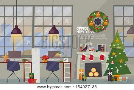 Vector Flat Style. Merry Christmas and Happy New Year Office. Christmas wreath over the fireplace with the Christmas tree and gifts