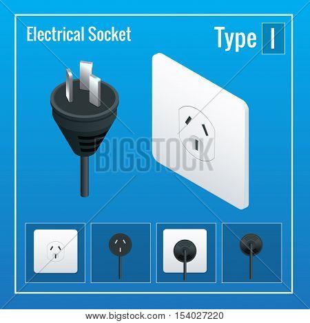 Isometric Switches and sockets set. Type I. AC power sockets realistic illustration. Power outlet and socket isolated. Plug socket