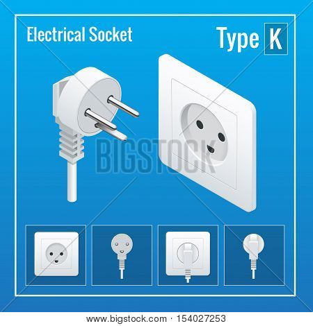 Isometric Switches and sockets set. Type K. AC power sockets realistic illustration. Power outlet and socket isolated. Plug socket