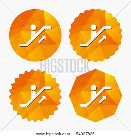 Escalator staircase icon. Elevator moving stairs up symbol. Triangular low poly buttons with flat icon. Vector