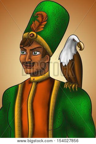 Overseas Prince in a green coat with a feather in the hat. On his shoulder sits an eagle