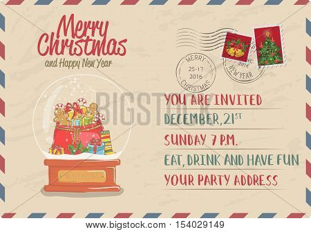 Snow globe with sack of gifts, sweets, toy, sock, holly cartoon vector. Vintage Christmas card with stamps. Invitation card on holiday party. Merry Christmas and Happy New Year greeting card. Christmas card layout. Old Christmas card template