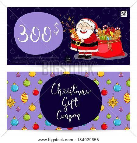 Christmas Voucher Template Vector. Xmas Gift Voucher Layout Or Discount  Voucher. Special Offer Xmas