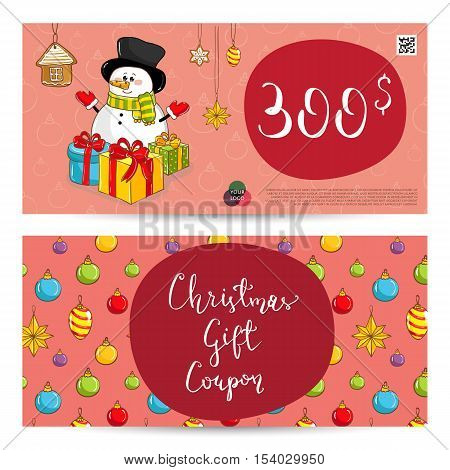 Christmas Voucher Template Vector. Xmas Gift Voucher Layout Or
