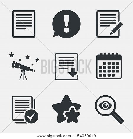File document icons. Download file symbol. Edit content with pencil sign. Select file with checkbox. Attention, investigate and stars icons. Telescope and calendar signs. Vector
