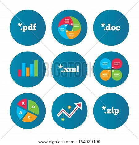 Business pie chart. Growth curve. Presentation buttons. Document icons. File extensions symbols. PDF, ZIP zipped, XML and DOC signs. Data analysis. Vector