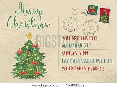 Vintage Christmas card with stamps. Decorated with toys, christmas garlands, candles christmas tree cartoon vector. Invitation card on holiday party. Merry Christmas and Happy New Year greeting card. Xmas letter. Christmas card layout. Old Christmas card