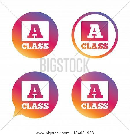 A-class icon. Premium level symbol. Energy efficiency sign. Gradient buttons with flat icon. Speech bubble sign. Vector