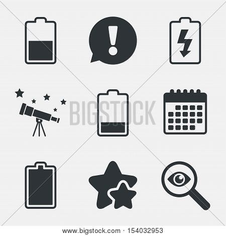 Battery charging icons. Electricity signs symbols. Charge levels: full, half and low. Attention, investigate and stars icons. Telescope and calendar signs. Vector