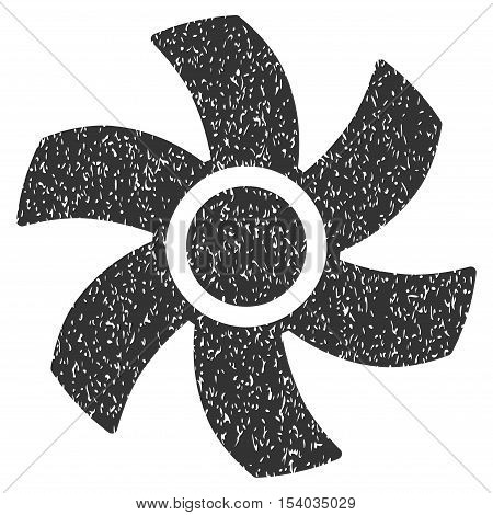 Rotor grainy textured icon for overlay watermark stamps. Flat symbol with scratched texture. Dotted glyph gray ink rubber seal stamp with grunge design on a white background.
