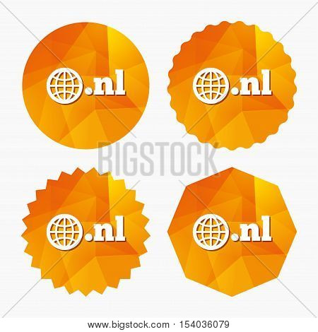 Domain NL sign icon. Top-level internet domain symbol with globe. Triangular low poly buttons with flat icon. Vector