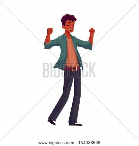 Handsome young black man raising hands in happiness and excitement, cartoon vector illustrations isolated on white background. Happy African American man celebrating success or victory with hands up