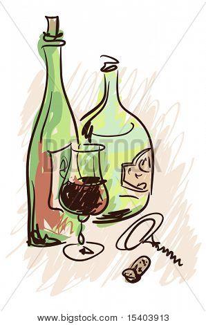 Wein. Vektor-Skizze.