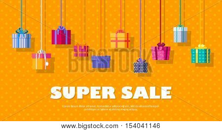 Super sale banner with gift boxes. Christmas sale conceptual banner. Gift boxes with fashionable ribbons and bows on orange background. Big discounts on goods before holidays. Present box icons. Vector