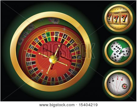 Gambling icon set. Vector.
