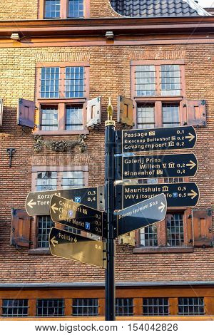 The Hague the Netherlands - October 29 2016: museum signs of The Hague