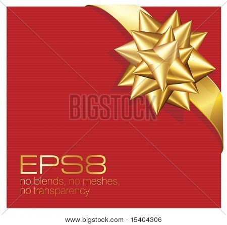 Present with gold ribbon bow. Vector.