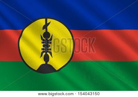 Flag of New Caledonia Melanesia. 3d illustration