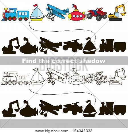 Set of toy transport with shadows to find the correct one. Compare and connect objects and their true shadows. Easy educational kid game. Simple game level. Logic game for children.