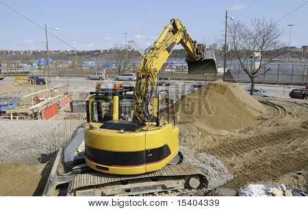 bulldozer, digger at works