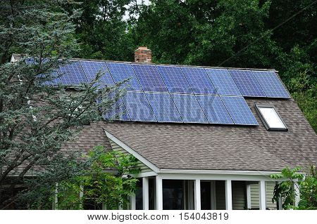 solar panels installed on the house roof