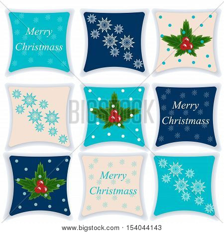 Christmas set of pillows. Pillow isolated on white background. Vector illustration