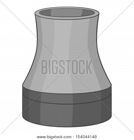 Cooling tower icon. Gray monochrome illustration of cooling tower vector icon for web