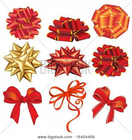 Holiday red and golden bows. Vector.