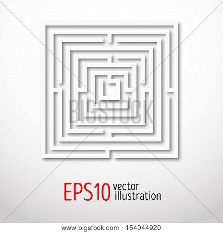 Quadrant white labyrinth. Sacral geometry illustration. Mysterious shape