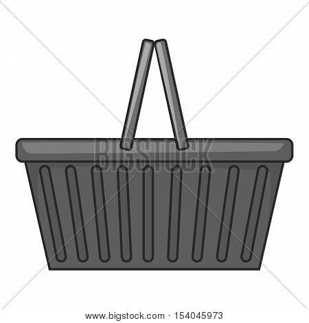Shopping basket icon. Gray monochrome illustration of shopping basket vector icon for web design
